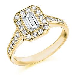 emerald diamond vinatge halo cluster tapered band engagement ring bristol swindon