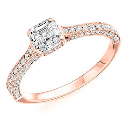 rose gold asscher diamond engagement ring ornate vintage style proposal