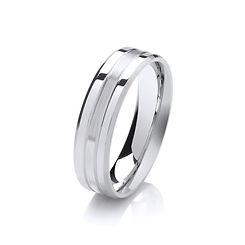 platinum white gold palladium wedding ring bevelled edges matt centre gents men man