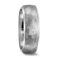 Titanium wedding ring with herringbone finish
