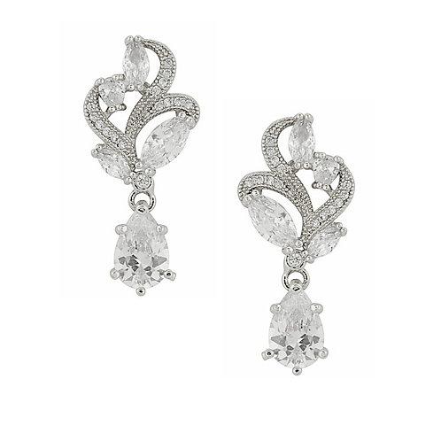 Ornate Cubic Zirconia Drop Earrings