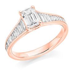 rose gold emerald cut diamond baguette cut engagement ring promise swindon cardiff