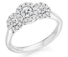 3 stone trilogy white gold round brilliant cut diamond engagement ring swindon bristol