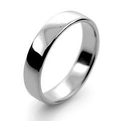 platinum white gold palladium 4mm  slight court mens man wedding ring