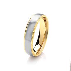 platinum white gold palladium wedding ring TWO TONE beaded vinatge edges  gents men man