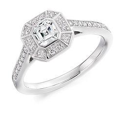 white platinum gold asscher diamond engagement ring ornate vintage style proposal