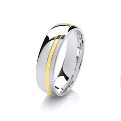 platinum white gold palladium wedding ring off set yellow line  gents men man