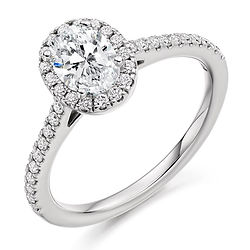 oval cut cluster halo delicate skinny band engagement ring