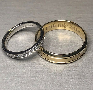 platinum diamond yellow gold wedding ring hand engraving holly robinson jewellery
