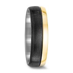 titanium, mens wedding ring, black carbon, yellow gold