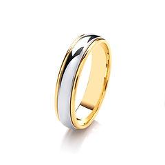 platinum white gold palladium wedding ring TWO TONE  gents men man