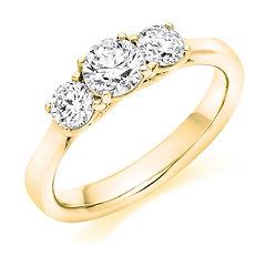 yellow gold round brilliant diamond three stone trilogy traditional engagement ring