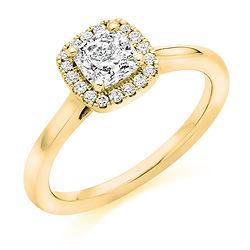 yellow gold cushion halo cluster vintage engagement ring bespoke bristol cardiff