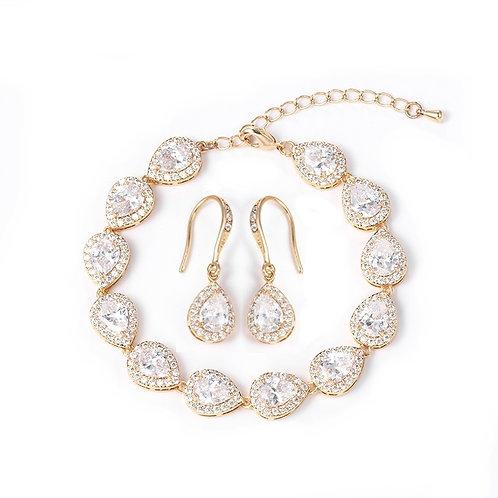 Pear Drop Halo Earring & matching Bracelet
