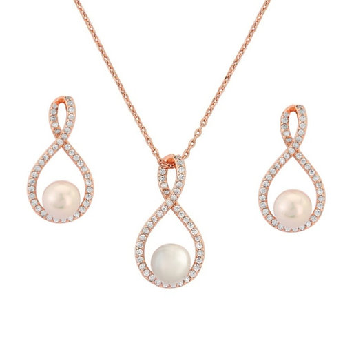 Together Rose Gold Plated Simulated Pearl & Cubic Zirconia Set
