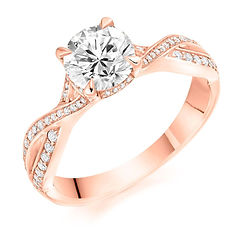 rose gold engagement ring diamond twist plaited band marriage proposal