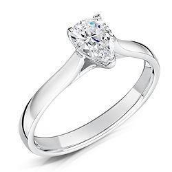 platinum white gold pear solitaire diamond marriage proposal
