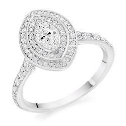 marquise vintage cluster engagement ring platinum white gold halo bespoke