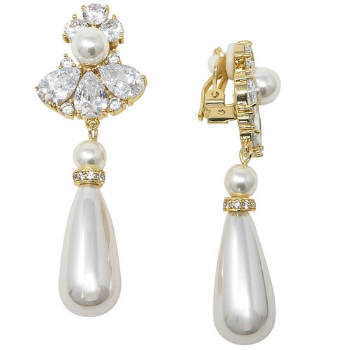 Simulated Pearl Drop Clip On Earrings