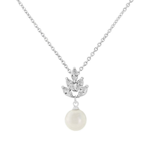 Vintage Feathered Simulated Pearl & Cubic Zirconia Necklet