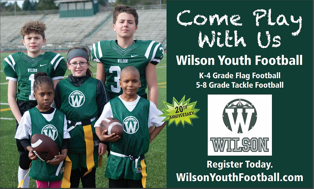 Wilson Youth Football registration begins April 1st! Take advantage of the Early Bird Discount!