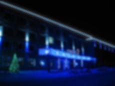 Комплексное оформление здания рекламными вывесками, прожекторами, гирляндами, гибким неоном и светодиодными композициями