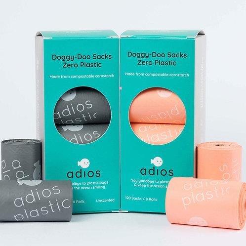 Adios Plastic: Compostable Poop Bags 8 x rolls of 15 (120)