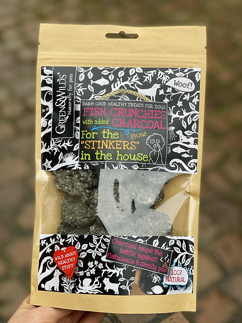 Green & Wilds: Fish Crunchies with added Charcoal (100g)