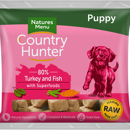 Natures Menu: Raw Country Hunter Superfood Puppy Nuggets 1kg - Turkey & Fish