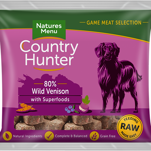 Natures Menu: Raw Country Hunter Superfood Nuggets 1kg - Venison