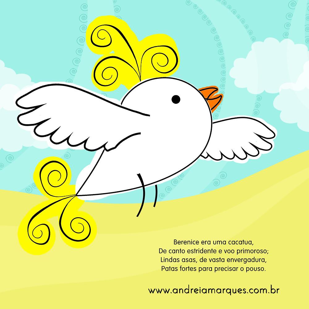 Livro infantil ilustrado Berenice a Cacatua Andreia Marques