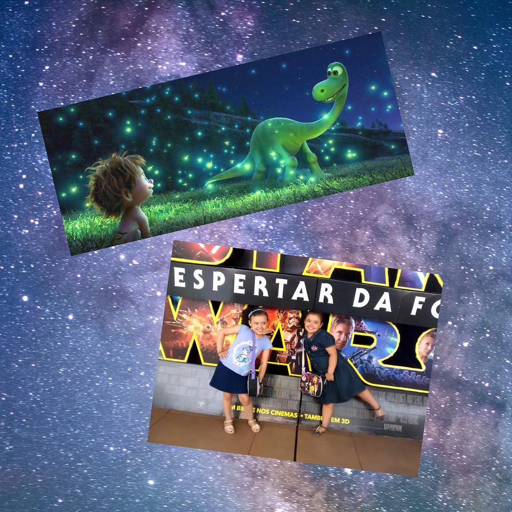 """Na imagem acima, a partir do topo: Na primeira foto, uma cena do filme """"O Bom Dinossauro"""", da Disney. Na segunda foto, Laís e Ísis, filhas de Fabiana Esteves."""