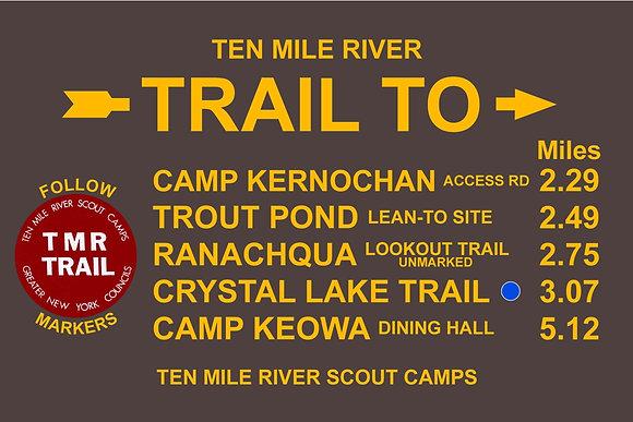 TMR Trail Sign (Camp Aquehonga, Northbound)