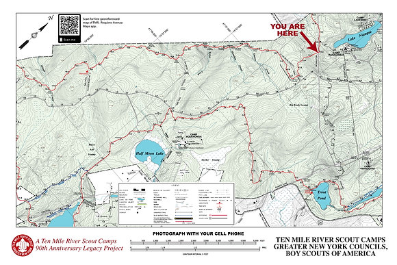 TMR Trail Map Sign (Camp Ranachqua, Southbound)