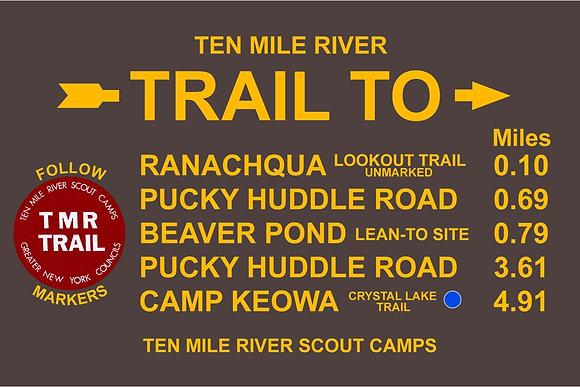 TMR Trail Sign (Camp Ranachqua, Northbound)