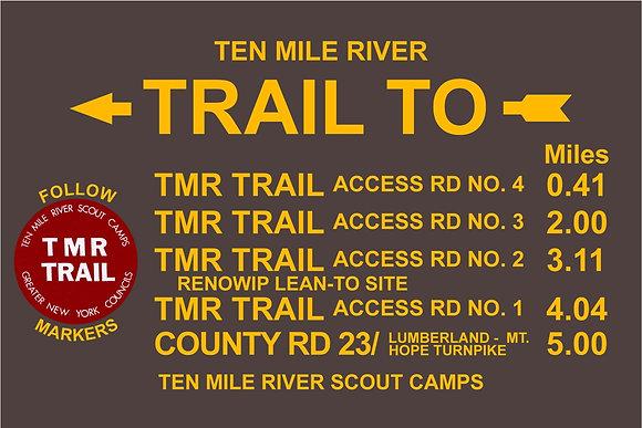 TMR Trail Sign (Camp Ranachqua, Southbound)