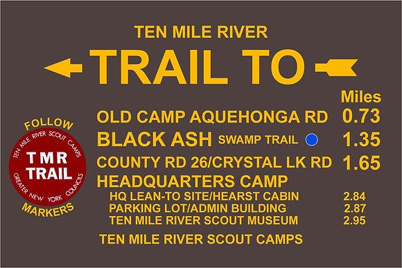 TMR Trail Sign (Camp Aquehonga, Southbound)
