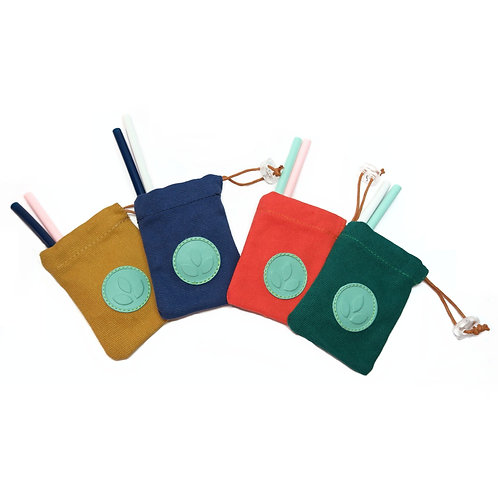 SILISIP 2 Foldable Silicone Straws with pouch and cleaner