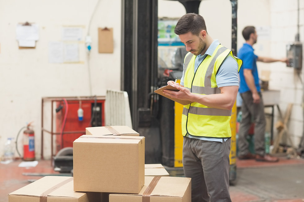 warehouse employee taking inventory