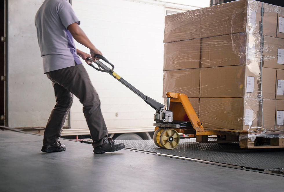 warehouse worker unloading boxes