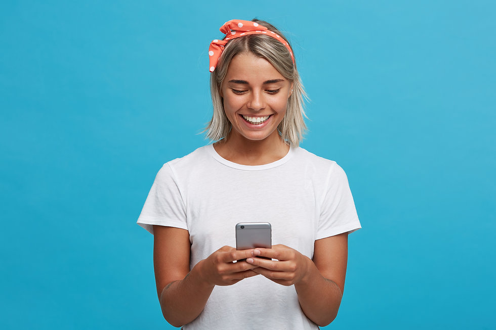 cheerful woman using social media