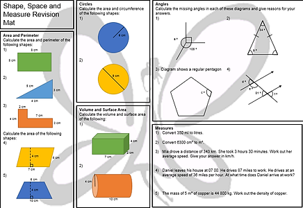 PixiMaths revision mats for foundation