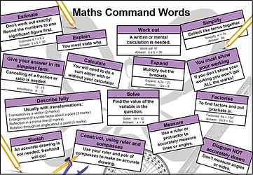 PixiMaths command words placemat