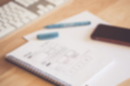 Notebook, pen, phone, desk, keyboard