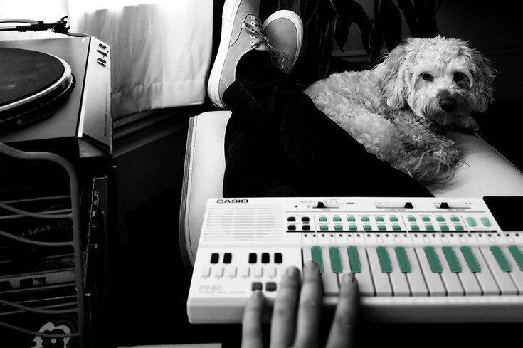 pet dog sitting at owners feet on footstool listening to them play the keyboard music black and white with colour