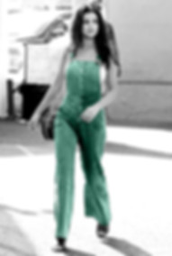 Selena gomez in dungarees black and white teal
