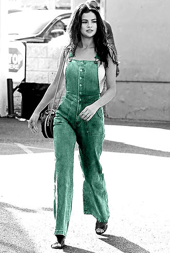 selena gomez wearing dungarees street style blue black and white with colour