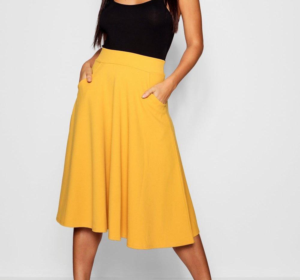 Boohoo Yellow Midi Skirt (£14)