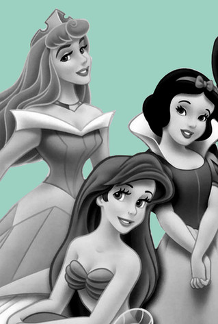 Disney princess black and white blue