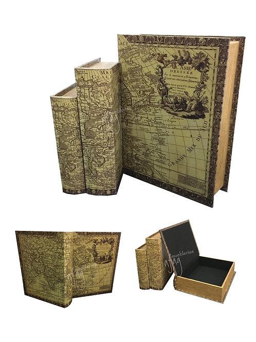 3 Libros - Cajas Decorativas Mapa Antiguo